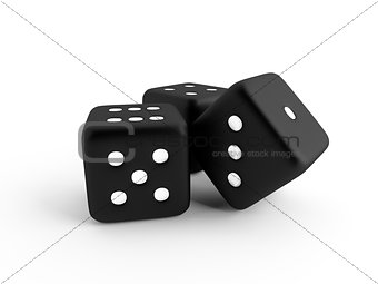 Three black dice cubes on a white background