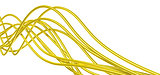 fibre-optical  yellow metallic cables on a white background