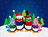 Penguins Carolers with Night Winter Scene