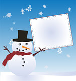 Snow Man with Message Board