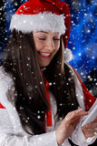 Christmas Girl with Smart Phone
