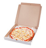 Delicious italian pizza in cardboard box