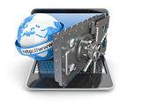 Internet security. Laptop and opening safe deposit box's door.