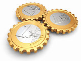 Euro coins as gear. Financial concept.
