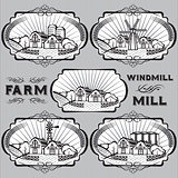 set of farm, mill, windmill, rural landscape