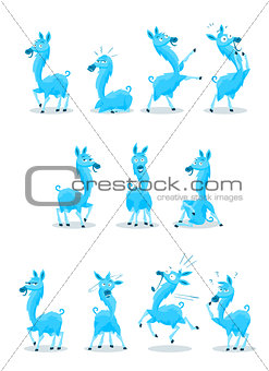 Blue Llama with Various Expressions