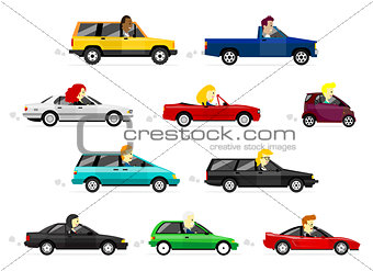 Business Man and Women driving Cars