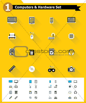 Flat computer hardware icon set