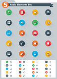 Flat audio icon set