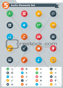 Flat audio icon set