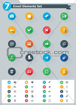 Flat email icon set