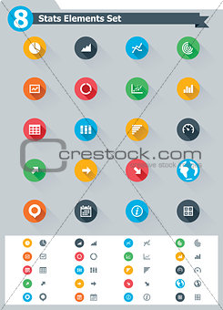Flat statistic elements icon set