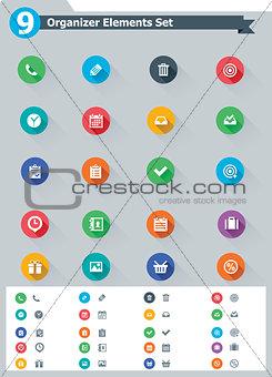 Flat organizer elements icon set