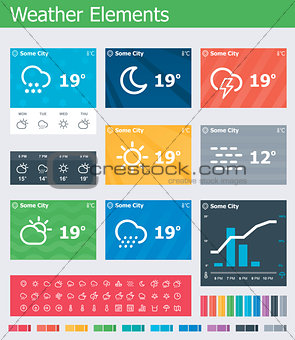 Flat weather app UI elements