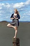 yoga girl standing on one leg