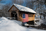 Patriotic Covered Bridge in New Hampshire