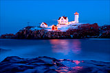 Maine's Nubble Lighthouse During Holiday Season