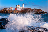 Crashing Waves at Maine Lighthouse