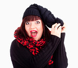 Surprised Woman in Black Cap and Red Scarf