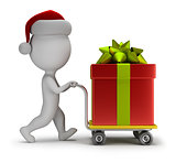 3d small people - Santa carries a gift