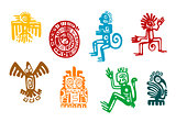Abstract maya and aztec art symbols
