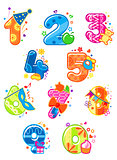 Cartoon digits and numbers with toys