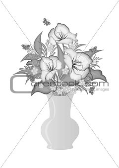 Abstract flowers in vase