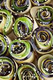 Baking eggplant and zucchini with hemp seed