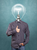 Hipster Lamp Head Man Shows Well Done