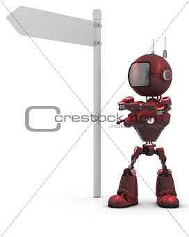 3D Render of an Android with road sign