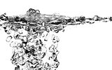 Fresh Water Splash Over White  - Isolated Objects Series