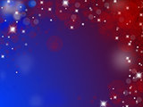 Abstract blue and red background with stars, circles