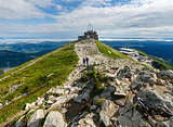 Summer Tatra Mountain (Poland) and family on path