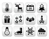 Christmas, winter red and green snowflakes vector icons set