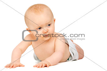 Baby on his front isolated on a white background