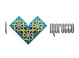 I love Morocco. Heart-shaped symbol with the Moroccan ornament.