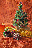 Christmas tree, garlands, decorations and candles, gingerbread cookies