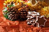 chocolate Christmas cookies on a Christmas tree background
