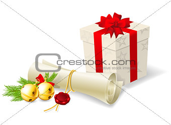 Christmas card with paper scroll wishlist, gift and bells
