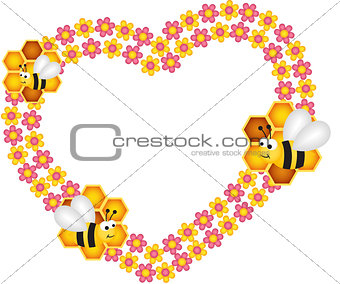 Bee and his honey flower heart frame