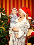 Mother and Baby Near Christmas Three