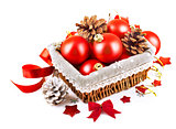 christmas red ball in basket