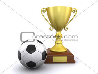 champion's trophy and soccer ball