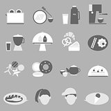 Bakery and drinks icon on gray background