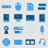 Electronic device color icons on light background