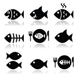 Fish, fish on plate, skeleton vecotor icons