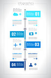 Infographic design template with paper tags. I