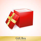 Open Red Cardboard Carton Gift Box.