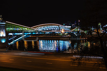 bridge over the river at night Moscow