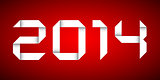 2014 Happy new year card, red background